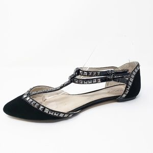 Topshop Black Pointed Toe T Strap Studded Flats